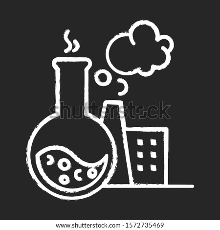 Chemical industry chalk icon. Synthetic materials researching, production. Industrial chemicals producing. Flask, smoking plant. Polluting factory. Isolated vector chalkboard illustration