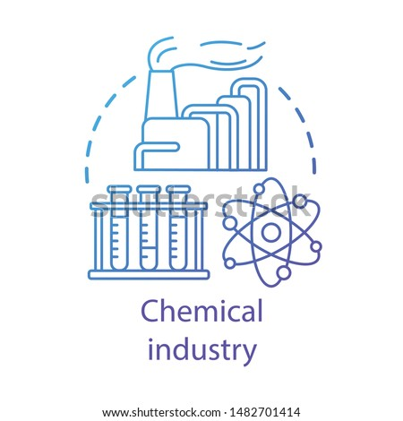 Chemical industry concept icon. Industrial chemicals producing. Plant, test tubes, molecule. Synthetic material production idea thin line illustration. Vector isolated outline drawing. Editable stroke