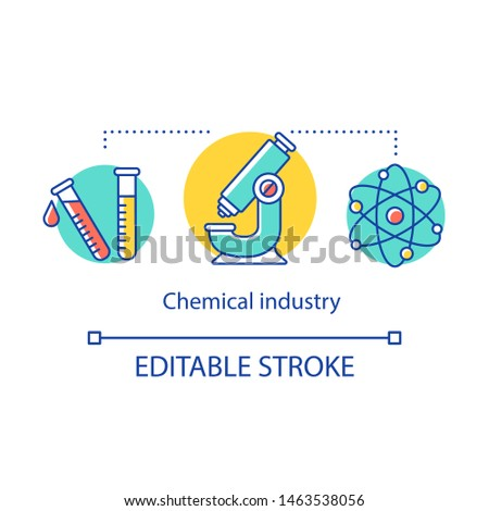 Chemical industry concept icon. Industrial chemicals producing. Test tubes, microscope, molecule. Laboratory experiment idea thin line illustration. Vector isolated outline drawing. Editable stroke