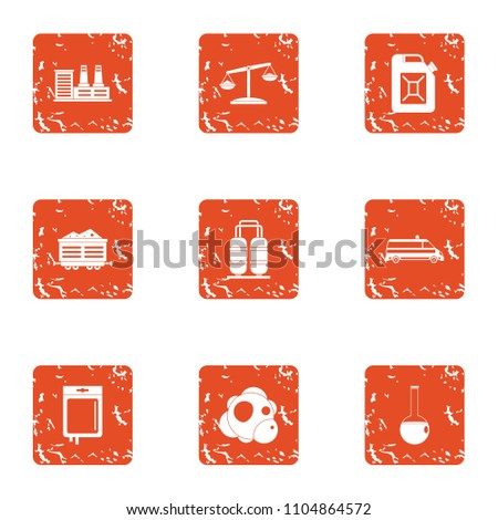 Chemical invasion icons set. Grunge set of 9 chemical invasion vector icons for web isolated on white background