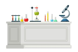 Chemical lab equipment on table flat vector illustration. Scientific tools, microscope, flasks with toxic liquid isolated clipart on white background. Cartoon medical and chemistry laboratory banner