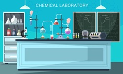 Chemical lab flat vector illustration. Scientific equipment, microscope, flasks with toxic liquid in cartoon chemistry classroom. Pharmaceutical experiments. Medical laboratory banner design
