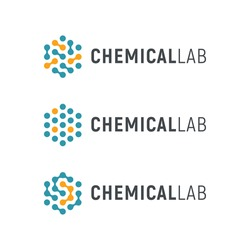 Chemical lab logo template. Abstract hexagon vector logotype. Biology hi-tech technology logos. Medical equipment.
