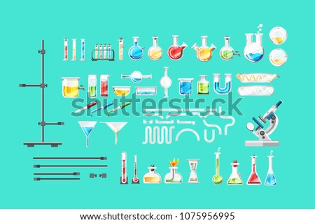 Chemical laboratory equipment isolated set. Various glass flask, beaker, test tube, spirit lamp, microscope, thermometer, pipette, dropper, burette elements. Medical lab tools vector illustration.