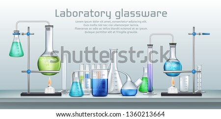 Chemical laboratory experiment 3d realistic vector concept. Lab graduated glassware filled with different color reagents, lab flasks connected with test tubes heating by alcohol burner illustration