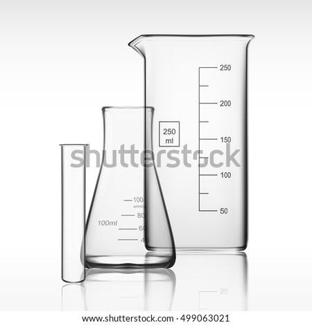 Chemical Laboratory Glassware Or Beaker. Glass Equipment Empty Clear Test Tube. EPS10 Vector