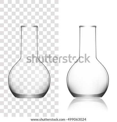 Chemical Laboratory Glassware Or Beaker. Glass Equipment Empty Clear Test Tube. EPS10 Vector
