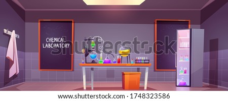 Chemical laboratory interior with glass flasks, tubes and beakers on table, blackboard on wall. Vector cartoon illustration of lab room with equipment for science research or medical test