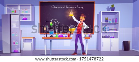 Chemical laboratory interior with scientific equipment, glass flasks, tubes and beakers, blackboard on wall. Vector cartoon illustration with chemist doing science research or medical test in lab