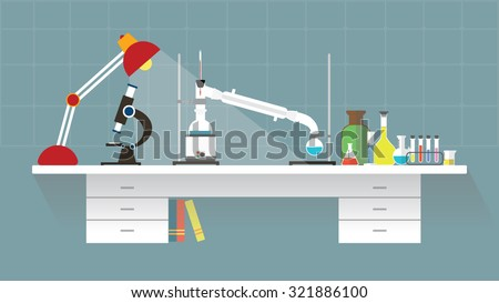Chemical laboratory-organic. Workplace. Flat design. vector illustration