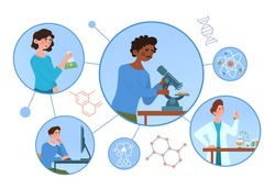 Chemical laboratory research concept. Scientists with flasks, microscope and computer working on antiviral treatment development. Modern medicine. Cartoon flat vector illustration on white background