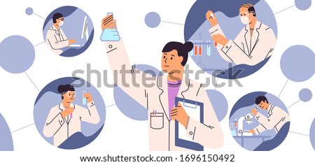 Chemical laboratory research. Vaccine discovery concept. Scientists with flasks, microscope and computer working on antiviral treatment development. Vector illustration in flat cartoon style