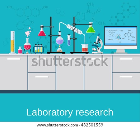 Chemical laboratory science and technology. Scientists workplace concept. Science, education, chemistry, experiment, laboratory concept. vector illustration in flat design