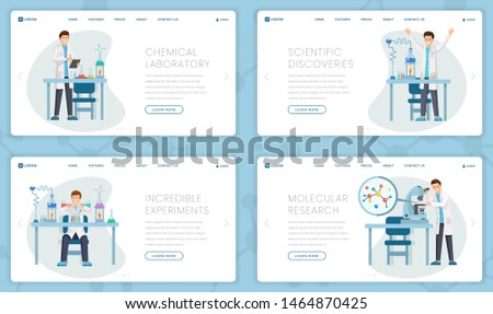 Chemical laboratory vector landing pages set. Cartoon researchers, scientists doing tests, experiments, studying molecules, making discoveries. Innovative research center webpage design layout