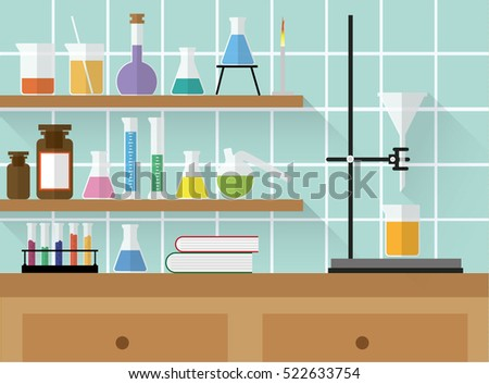 chemical laboratory with glass