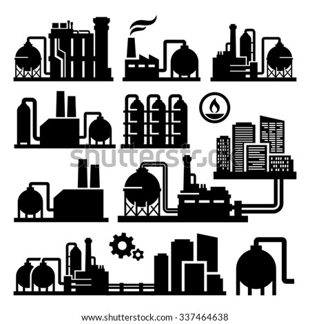 chemical plant factory vector
