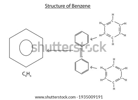 Chemical structure of benzene ( Aromatic structure of benzene), kekule structure of benzene, Kekulé structures, aromatic ring structure of  Kekulé anatomy benzene with C6H6, The carbons are arranged