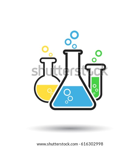 Chemical test tube pictogram icon. Laboratory glassware or beaker equipment isolated on white background. Experiment flasks. Trendy modern vector symbol.