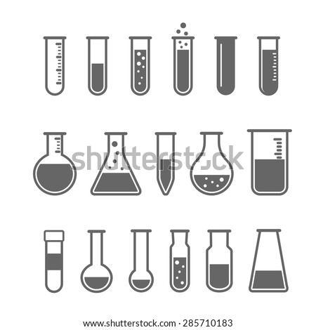 Chemical test tube pictogram icons set. Chemical lab equipment isolated on white. Experiment flasks for science experiment.