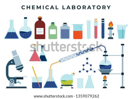 Chemical training or research laboratory equipment, set of flat icons. Flask, spirit lamp, test tube, microscope, reagents, beaker, chemicals. Chemical, scientific, educational vector illustration.