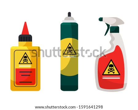 Chemicals for insect extermination and disinfection set. Containers, bottles. Spray, aerosol, liquid toxic poison. Pest control service. Accessories and repellents. Vector cartoon flat illustration Foto stock ©