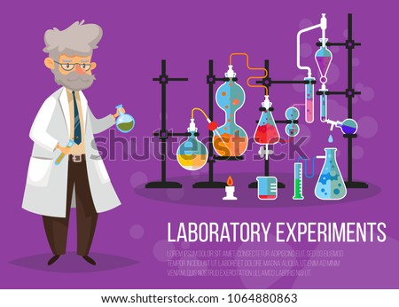 Chemist man near glassware flasks with liquid and tubes or pipes. Laboratory or lab with test-tube. Science and technology, medicine and pharmacy, chemistry and experiment theme Zdjęcia stock ©
