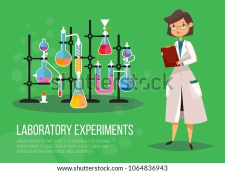 Chemist woman or biological scientist female, lady teacher at class laboratory near glassware flasks or test tubes with boiling liquid on fire. Experiment and research, study and science, pharmacology