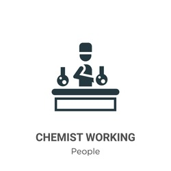 Chemist working glyph icon vector on white background. Flat vector chemist working icon symbol sign from modern people collection for mobile concept and web apps design.