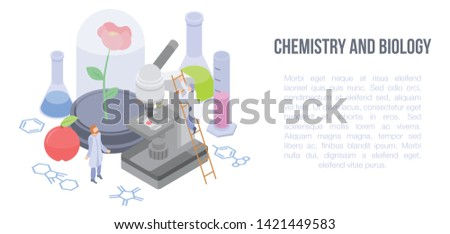 Chemistry and biology concept banner. Isometric illustration of chemistry and biology vector concept banner for web design