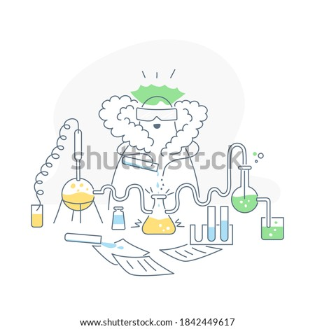 Chemistry and medical experiments. Chemist at work mixing chemical reagents in a laboratory. Checking reactions, laboratory synthesis, drug, and vaccine development. Clean outline vector