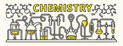 Chemistry beaker experiment banner. Outline illustration of chemistry beaker experiment vector banner for web design
