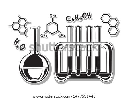 Chemistry black and white icon. Flask, tube rack and chemical formulas. H2O, 2H5OH, C6H3(CH3)3. Water formula, alcohol formula, mesitylene or 1,3,5-trimethylbenzene. Vector illustration