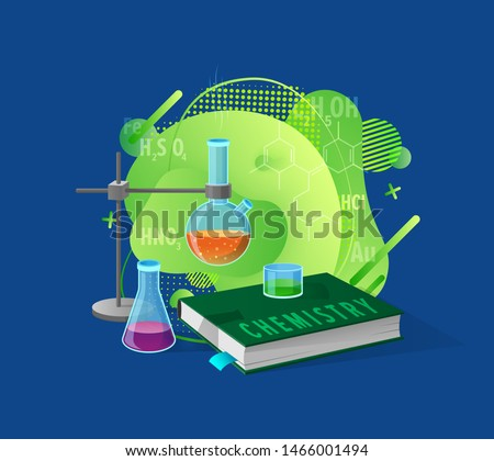 Chemistry book and liquid in glass flask, science presentation decorated by molecules and formulas, scientific equipment, biotechnology education vector. Flat cartoon