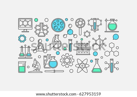 Chemistry concept banner - vector illustration made with laboratory glass, test-tube and other chemical icons on white background