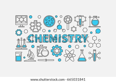 Chemistry creative modern background. Vector science and education illustration made with thin line chemical icons and blue word CHEMISTRY on white background