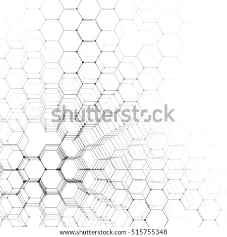 Chemistry 3D pattern, hexagonal molecule structure on black, scientific medical research. Medicine, science and technology concept. Motion design. Geometric abstract background.