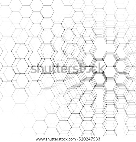 Chemistry 3D pattern, hexagonal molecule structure on white, scientific medical research. Medicine, science and technology concept. Motion design. Geometric abstract background.