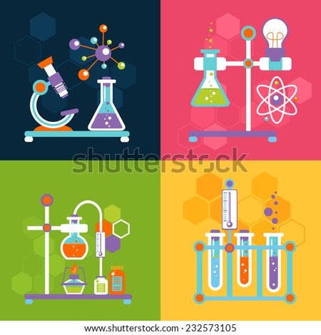 chemistry decorative flat icons