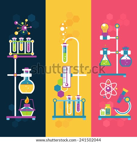 Chemistry decorative vertical banners set with laboratory flasks tubes isolated vector illustration