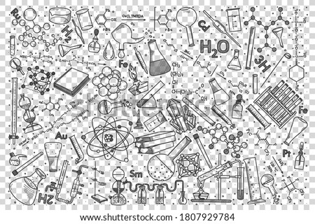 Chemistry doodle set. Collection of hand drawn sketches templates drawing patterns of chemical elements and formulae flasks or tubes with reagents . Back to school and education illustration.