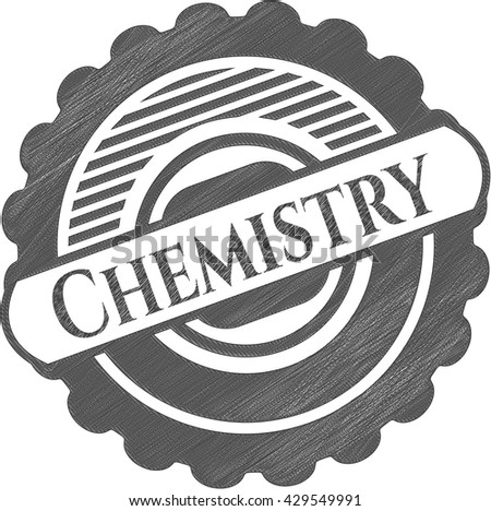 Chemistry emblem with pencil effect