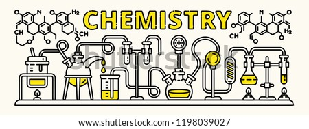 Chemistry experiment banner. Outline illustration of chemistry experiment vector banner for web design