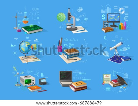 Chemistry flasks, bio microscope, economic charts, geo globe, books on maths and law, telescope for astronomy, tech equipment vector illustrations.