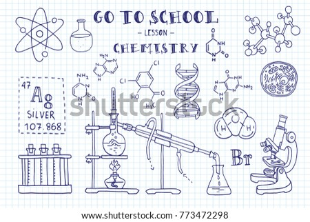 Chemistry. Hand sketches on the theme of Chemistry. Note book page paper. Vector illustration.
