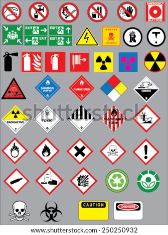 Stock Photo Chemistry hazard and warning symbols vector set. Safety warning signs