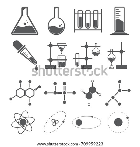 chemistry icon concept, beaker dropper molecular atom in laboratory, solution and research