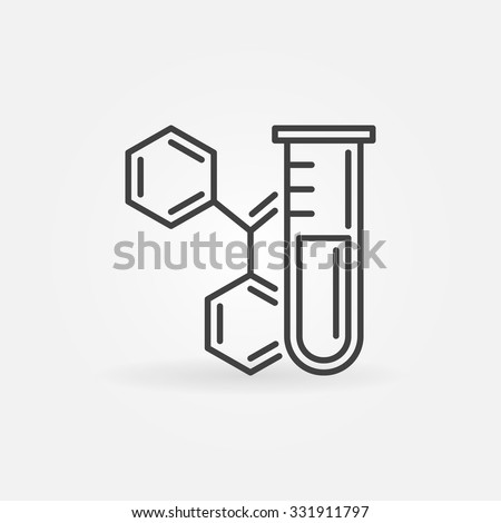 Chemistry icon or logo - vector science technology symbol made of lab glass test tube and formula