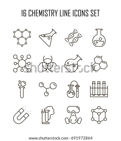 Chemistry icon set. Collection of science silhouette icons. 16 high quality logo of laboratory on white background. Pack of symbols for design website, mobile app, printed material, etc.
