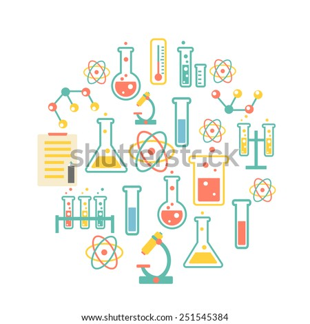 chemistry icons background for  biology and medical research posters