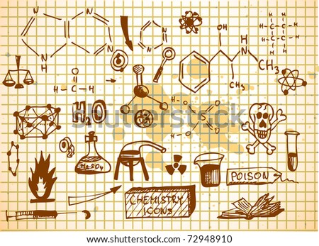 chemistry icons on brown paper